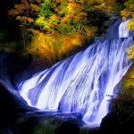 夜闇に浮かぶ豪快なしぶき!日本三名瀑・袋田の滝が幻想的にライトアップ。